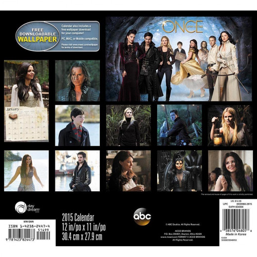 Once Upon a Time 2015 Calendar Backside