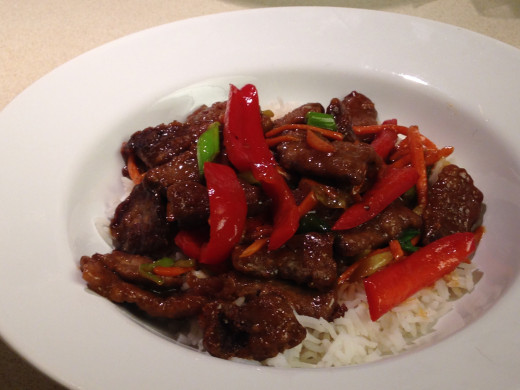 Mongolian Beef with red peppers