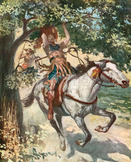 """He was riding his mule, as the mule went under the thick branches of a large oak, Absalom's head got caught in the tree."""