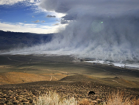 Dust storm over the dry lake bed of what used to be Owens Lake, Califoria