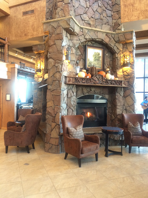Warm, cozy fireplace at Westgate Resort and spa.