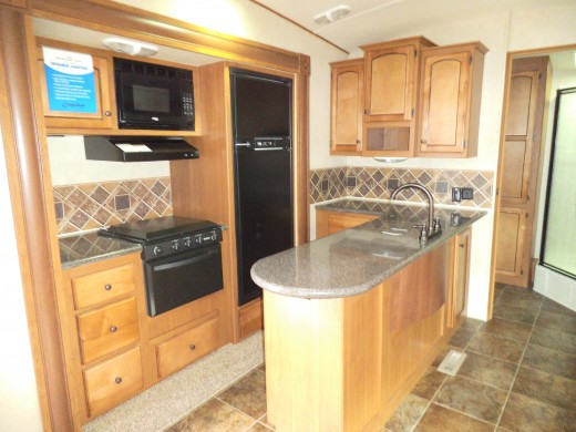RV kitchens might be tiny to deluxe. This one is larger than most.