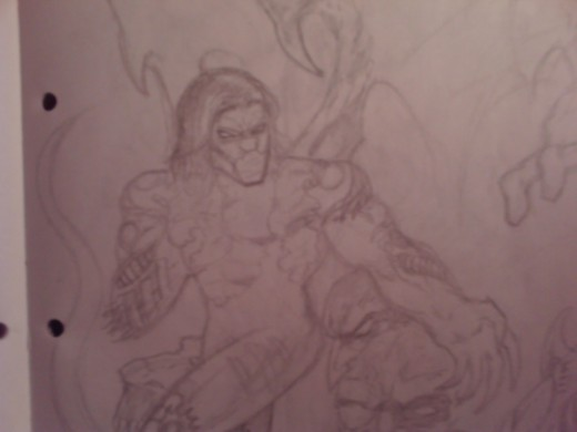 Another drawing of the Darkness character from the Top Cow comic book.