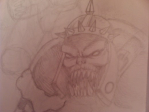 A drawing of an orcs face, not drawn many of these since, but I'll have a hubpage on how to draw one up soon.