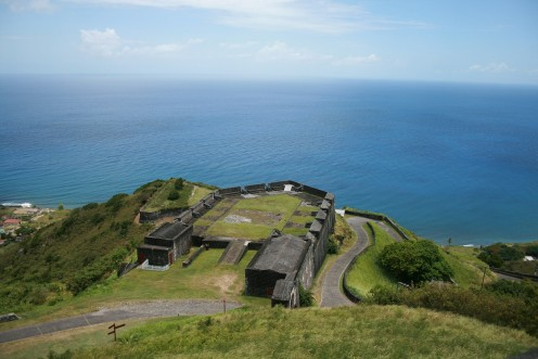 Photo by maxamillion32 at pixabay of the fort on St. Kitts.  It's the largest fortress ever built in the Eastern Caribbean, and is a UNESCO World Heritage Site