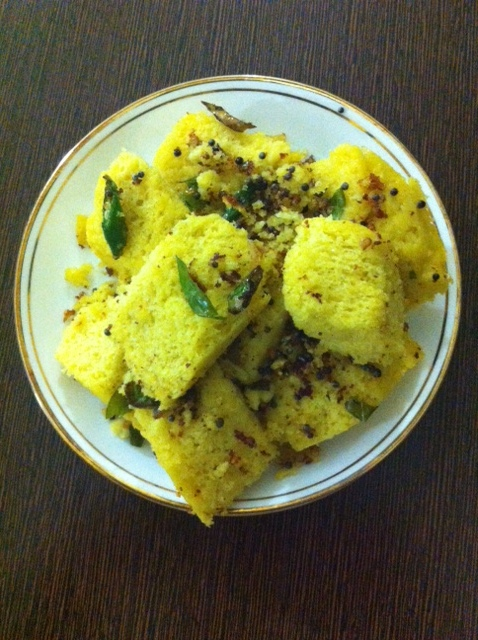 Dhokla after tempering!