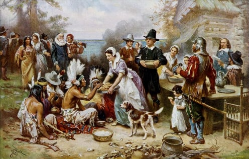"""The First Thanksgiving.""  Between circa 1912 and circa 1915"