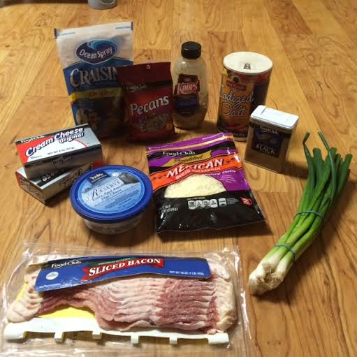 Ingredients for cheese log with two toppings