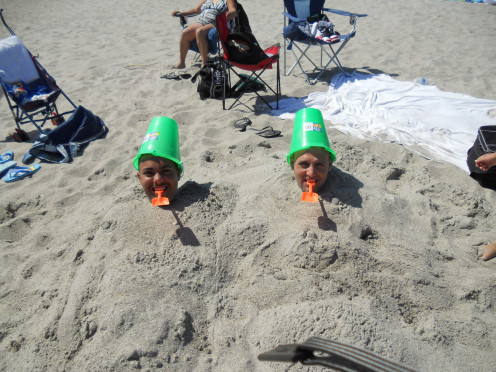 Having fun in the sand