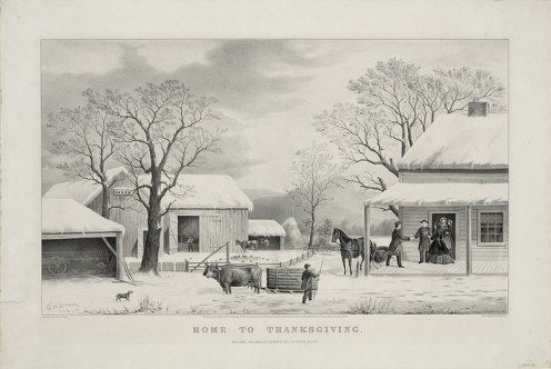 Lithograph, Home To Thanksgiving, published by Currier and Ives. - 1867