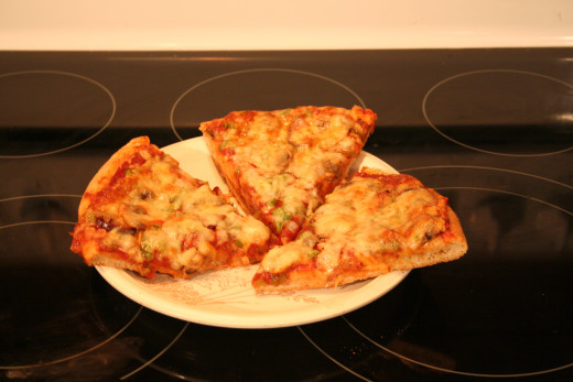 Three Slices Of The Finished Pizza