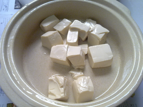 soft tofu, very delicate and breaks apart easily