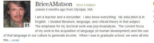 Author Matson is a  teacher and a storyteller. Matson's articles are unique and thought provoking.