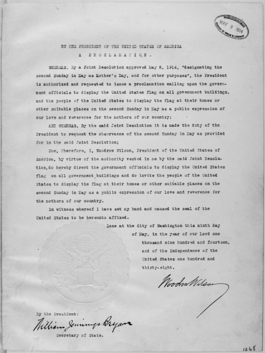 President Wilson's Mother's Day Proclamation