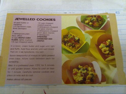 I cut this recipe out of a cereal box ans paste it in my scrapbook