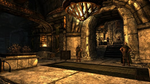 Morthal is built out of a Dwemer ruin, and so their architecture dominates almost the entire city.