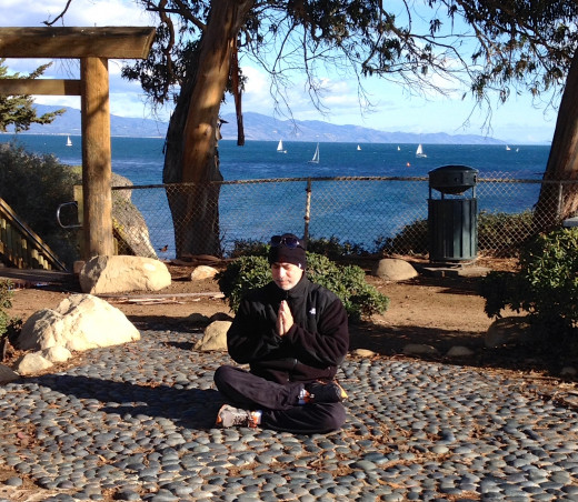 Meditating in Santa Barbara while waiting for an NFL game to start.