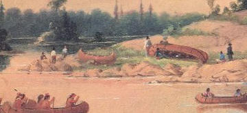 Painting of Ojibwe Encampment on Winnipeg River