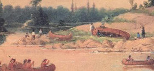 Painting of Ojibwe Encampment on Winnipeg River