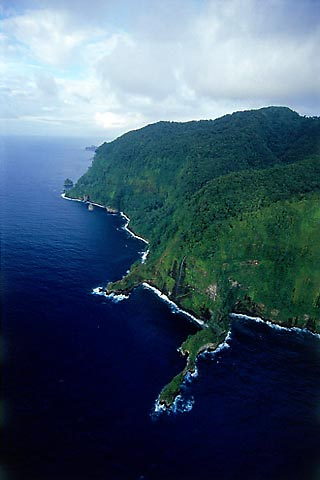 Areal view of Cocos Island, several hundred miles off the coast of Costa Rica