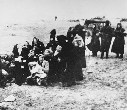 Latvian women waiting to be executed