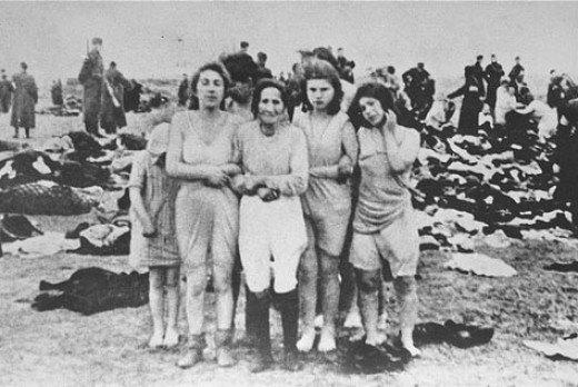 From left to right: (1) Sorella Epstein; (2) believed to be Rosa Epstein, mother of Sorella; (3) unknown; (4) Mia Epstein; (5) unknown. Alternatively, (2) may be Paula Goldman, and Mia Epstein may be (5) instead of (4). Latvian women executed