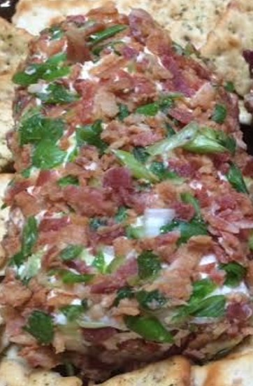 Close up of bacon and chive cheese log