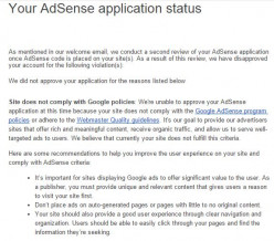 Why my Google Adsense account is disapproved this time?