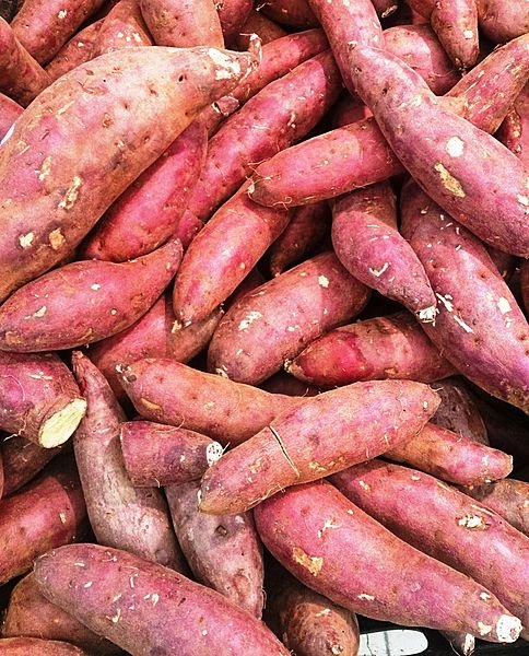 Sweet Potatoes for sale in a grocery store, or market.  Think of all the health benefits!
