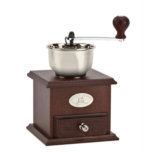 The Peugeot 11765 is an attractive traditional product made from walnut.  The manual  burr-type mill grinds the beans quickly and efficiently.  The Peugot's attractive appearance will enhance any kitchen.