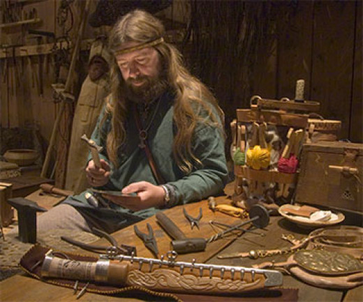 Weaponmaker - a master craftsman in his workshop busies himself with a new task