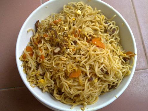 A bowl of Fried Instant Noodles for my kids and me