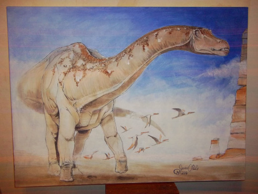 Dreadnoughtus painting by one of its discoverers, Dr. Jason Poole.