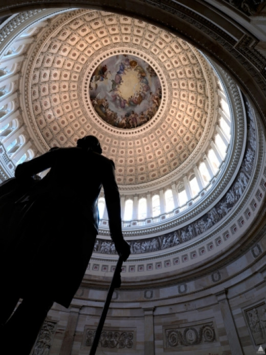 """The U.S. Capitol Rotunda is a large, domed, circular room 96 feet in diameter and 180 feet in height located in the center of the United States Capitol on the second floor."""