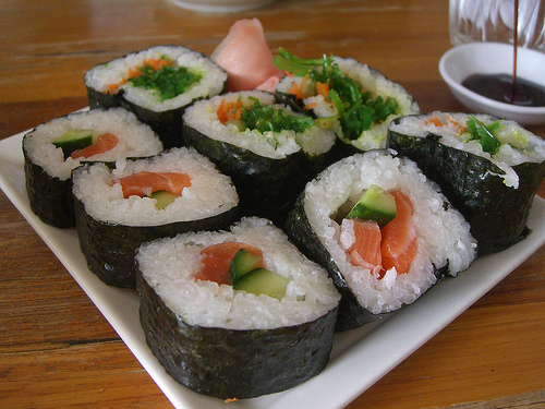Sushi rolled in nori