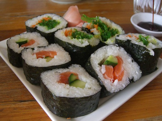 Sushi rolled in nori