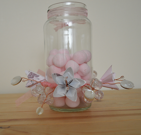 Make your own wedding favor jar centerpieces and fill them with sweets