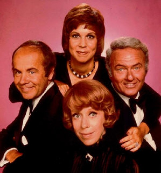 From left to right: Tim Conway, Vikki Lawrence, Harvey Korman, Carol Burnett
