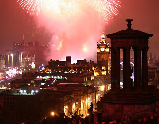 Hogmanay fireworks in Edinburgh