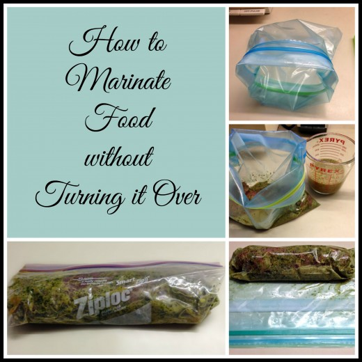 Never babysit marinating food again! This quick and easy no-turn method lets you keep the food surrounded with marinade on all sides without making a vat of it.