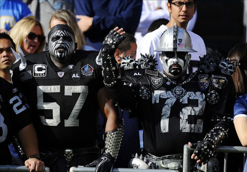 "In Oakland's Alameda Stadium also known as ""The Black Hole"" silver and black attack! We're not crazy. We're just REALLY passionate about our guys!"