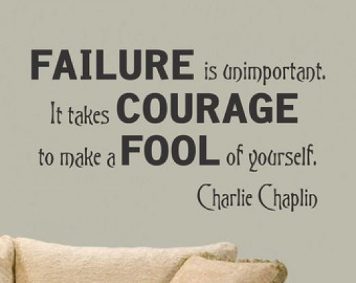 """Failure is unimportant. It takes courage to make a fool of yourself."" Charlie Chaplin saying stencil on a wall"