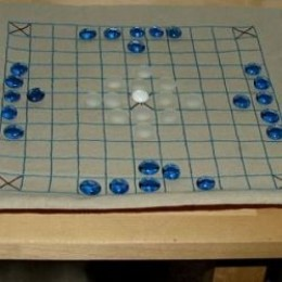 A hand embroidered Hnefatafl board