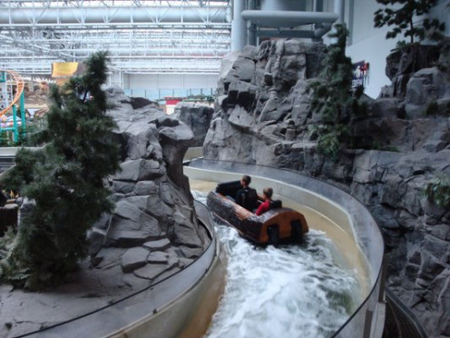 Mall of America even has a log water ride complete with big hills inside the middle of the mall.  The rocky mountain look and river steam travel is entertaining.