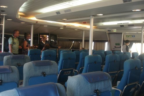 Inside the SeaCat ferry