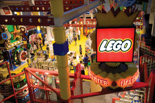 The Lego section is a favorite for children who visit the Mall of America. It has LEGO toys and huge Lego displays and new Lego creations on display.