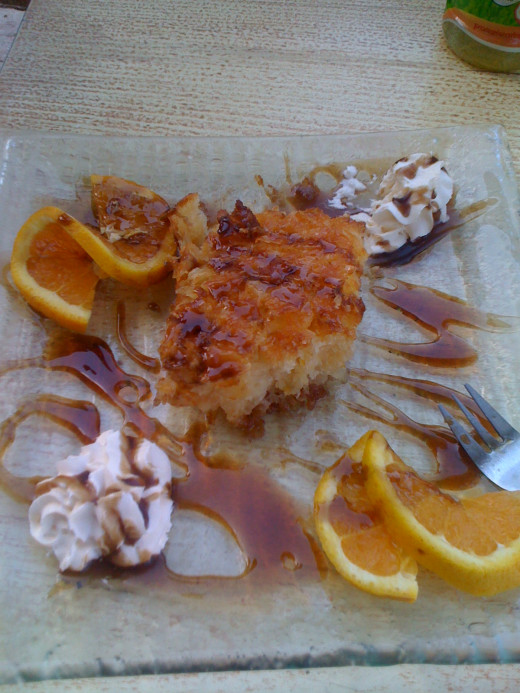Orange Cake from a cafe on the dock.