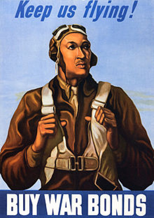 War poster featuring a Tuskegee Airman