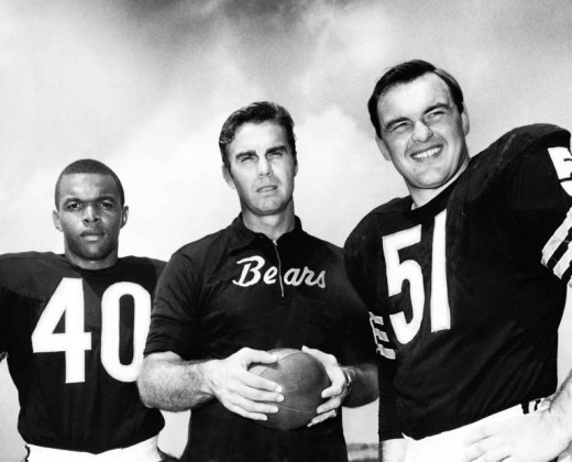 Gale Sayers, Bears coach, Jack Dooley and Dick Butkus