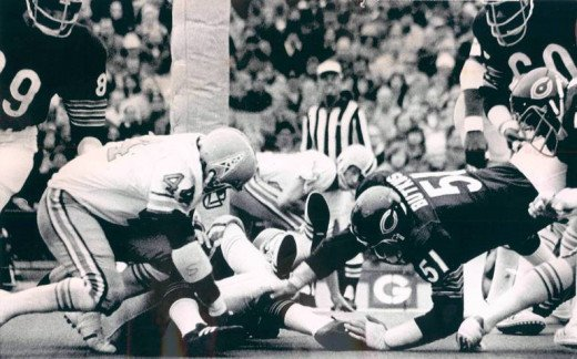 Butkus loved to charge through his opponents' defensive line and hurt as many people as possible